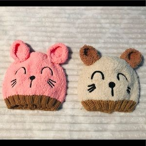 Other - NEW Toddler girls pink and beige knit baby hats